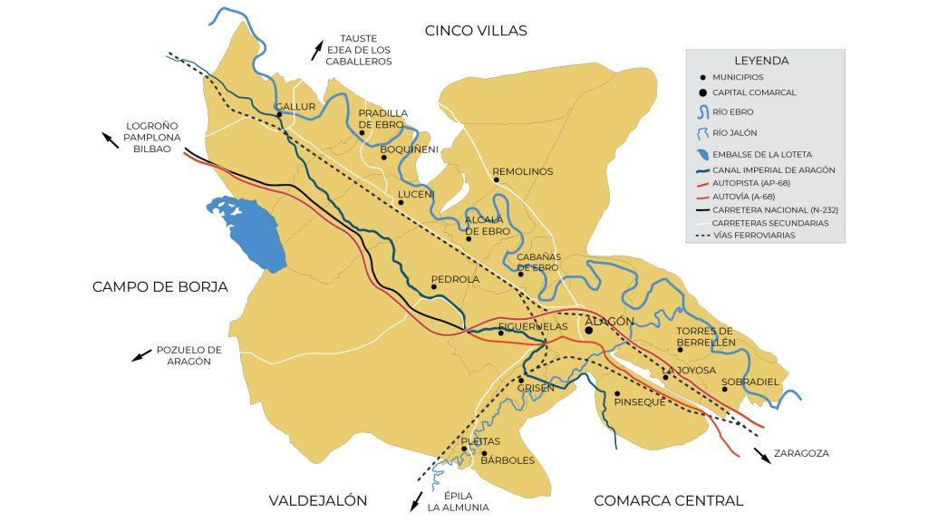Mapa de municipios y comunicaciones de la comarca Ribera Alta del Ebro