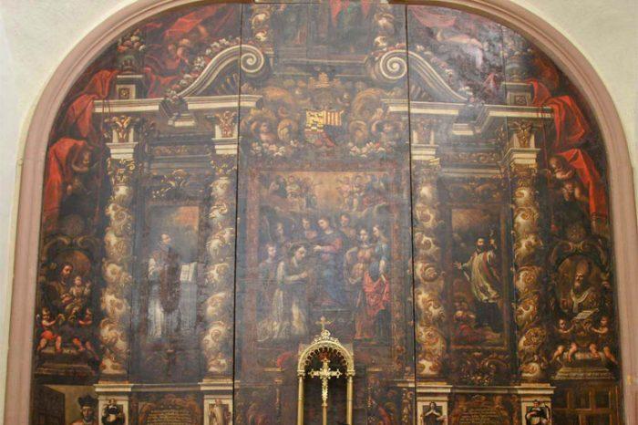 retablo pictórico de san ildefonso en la iglesia de san ildefonso de cabaás de ebro