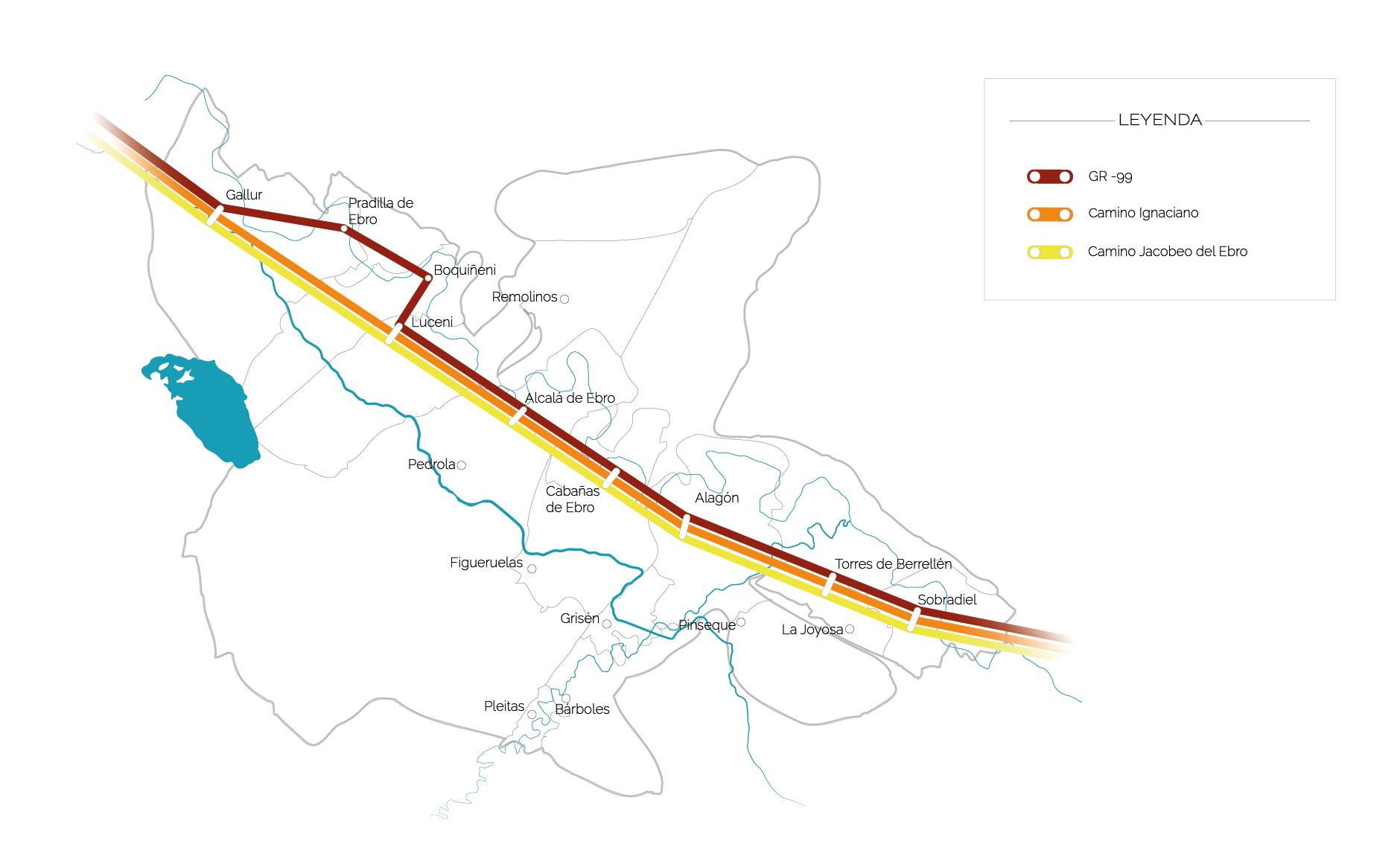 mapa caminos ribera alta ebro