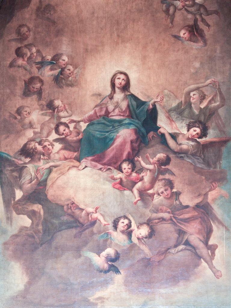 lienzo del retablo de la Asunción de María edFrancisco Bayeu en la iglesia de Pedrola.