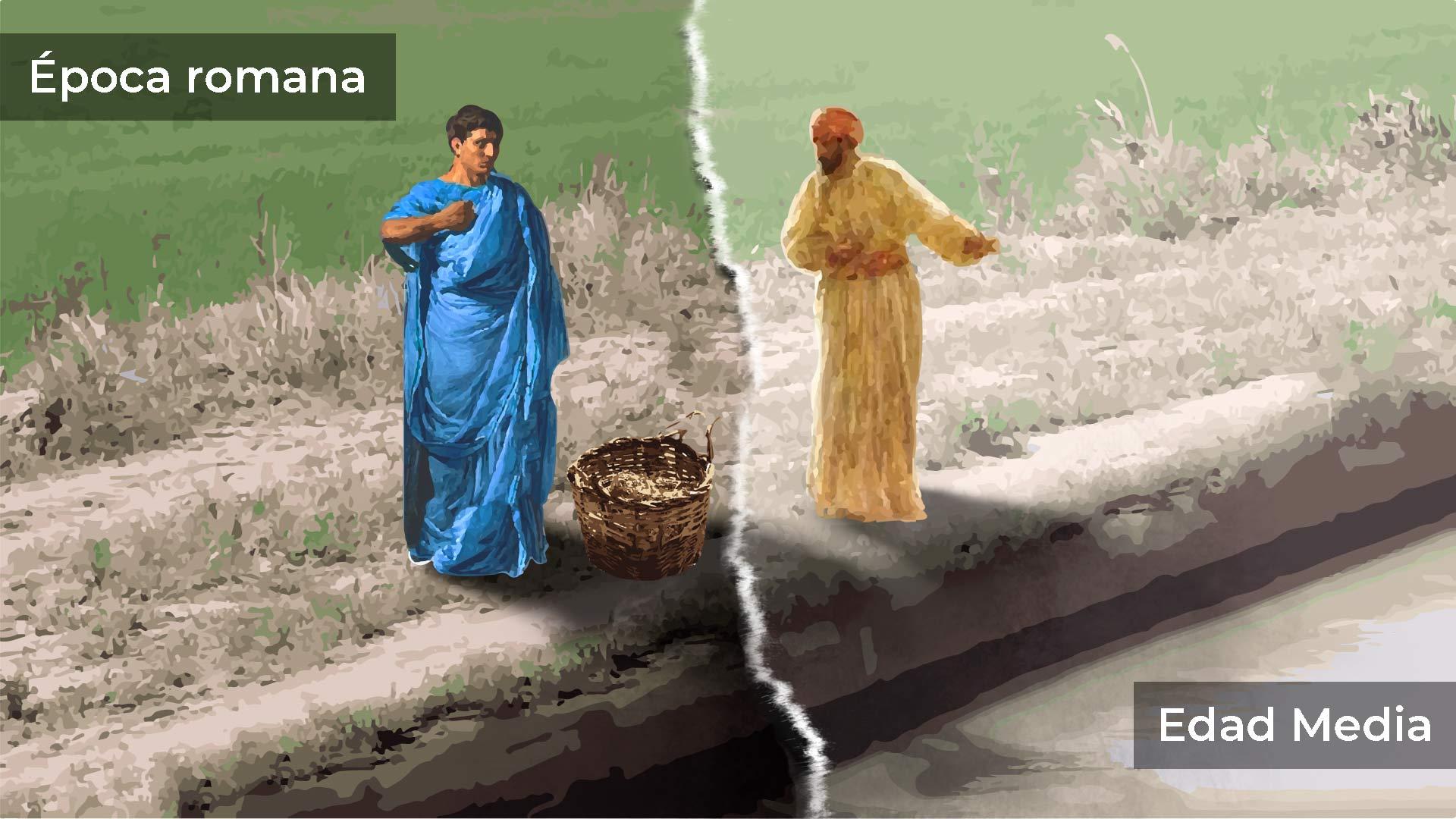 ilustración de un romano a la izquierda y un musulman a la derecha situadis en el borde de la acequia donde se celebra la tradición de reparto de aguas del Trallo