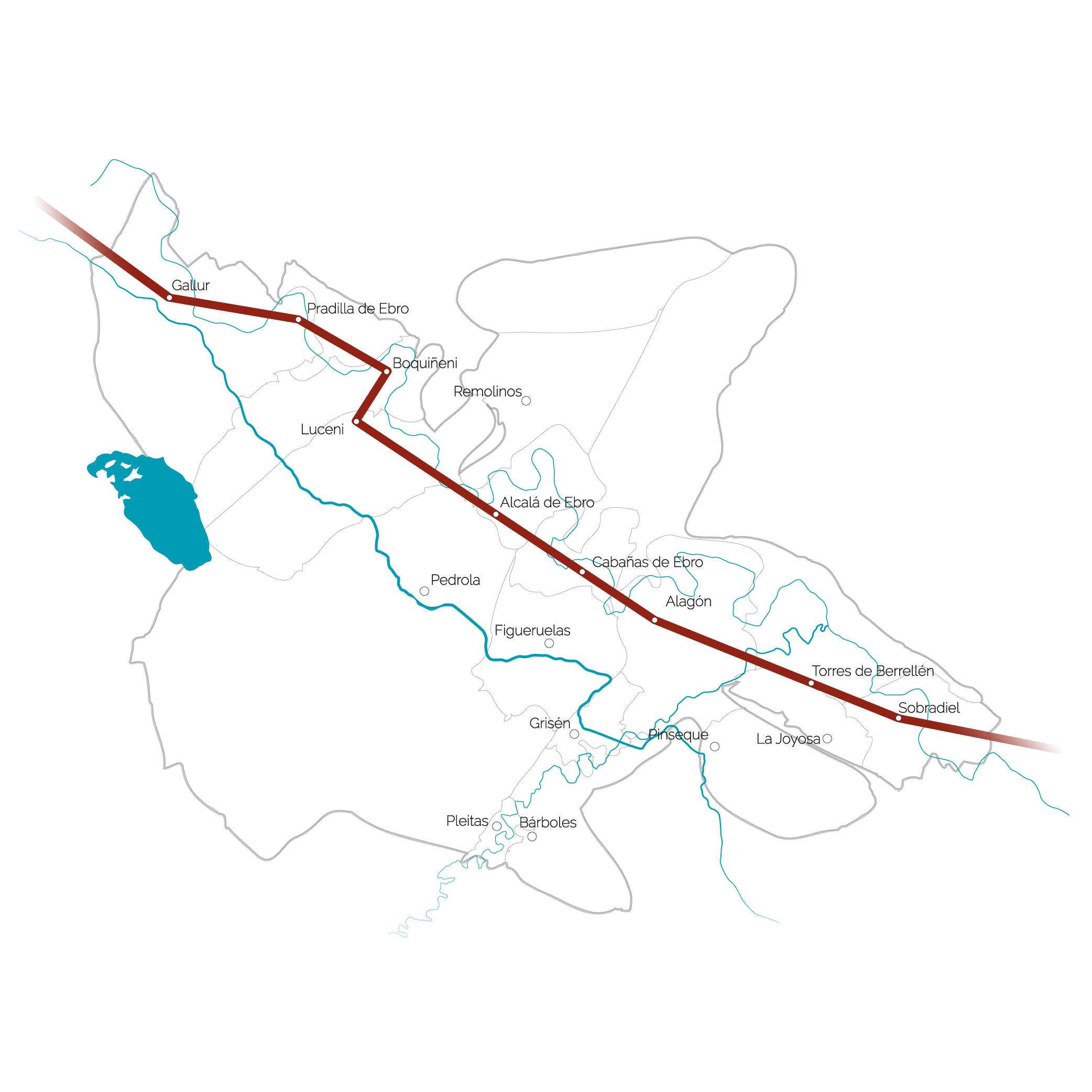 mapa de la comarca con ruta del GR marcada
