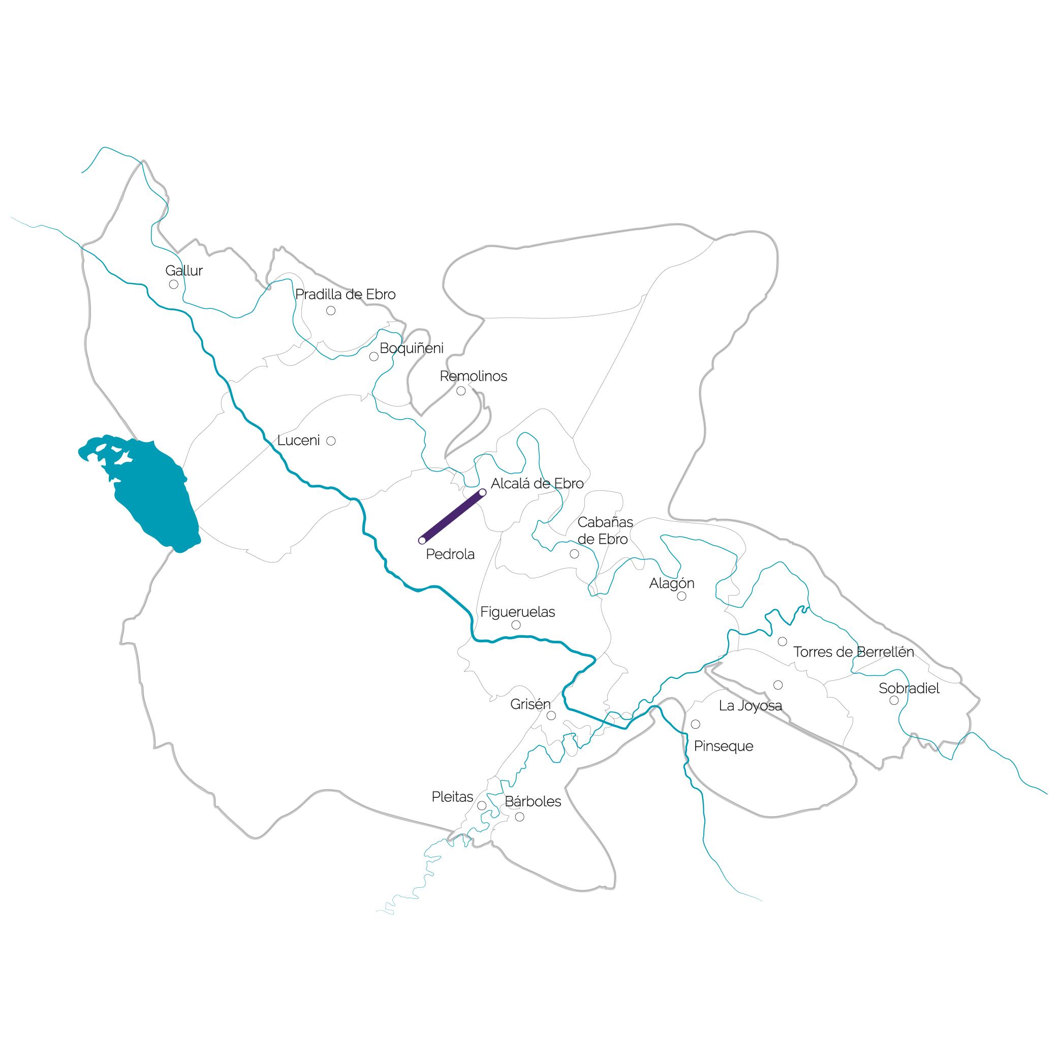 Un mapa de la comarca con la ruta temática del Quijote marcada en color