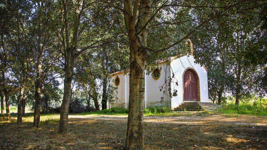 Ermita en la chopera de las afueras de Pradilla de Ebro.