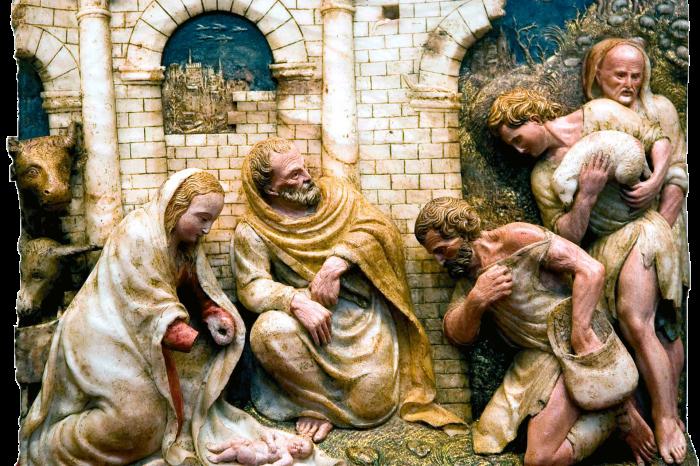 Relieve de la Adoración de los pastores de la iglesia de Santiago Apóstol en Sobradiel